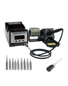 Aoyue 9378 PRO 60 Watt Programmable Digital Soldering Station-ESD Safe, Includes 10 Tips, C/F Switchable, Configurable Iron Holder, Spare Plug-in Heating Element